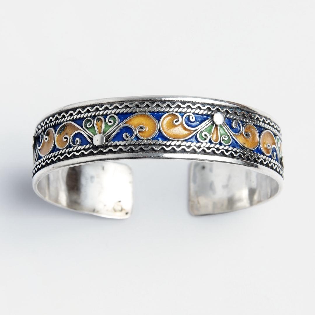 Brățară unicat Melal, argint și email, Maroc