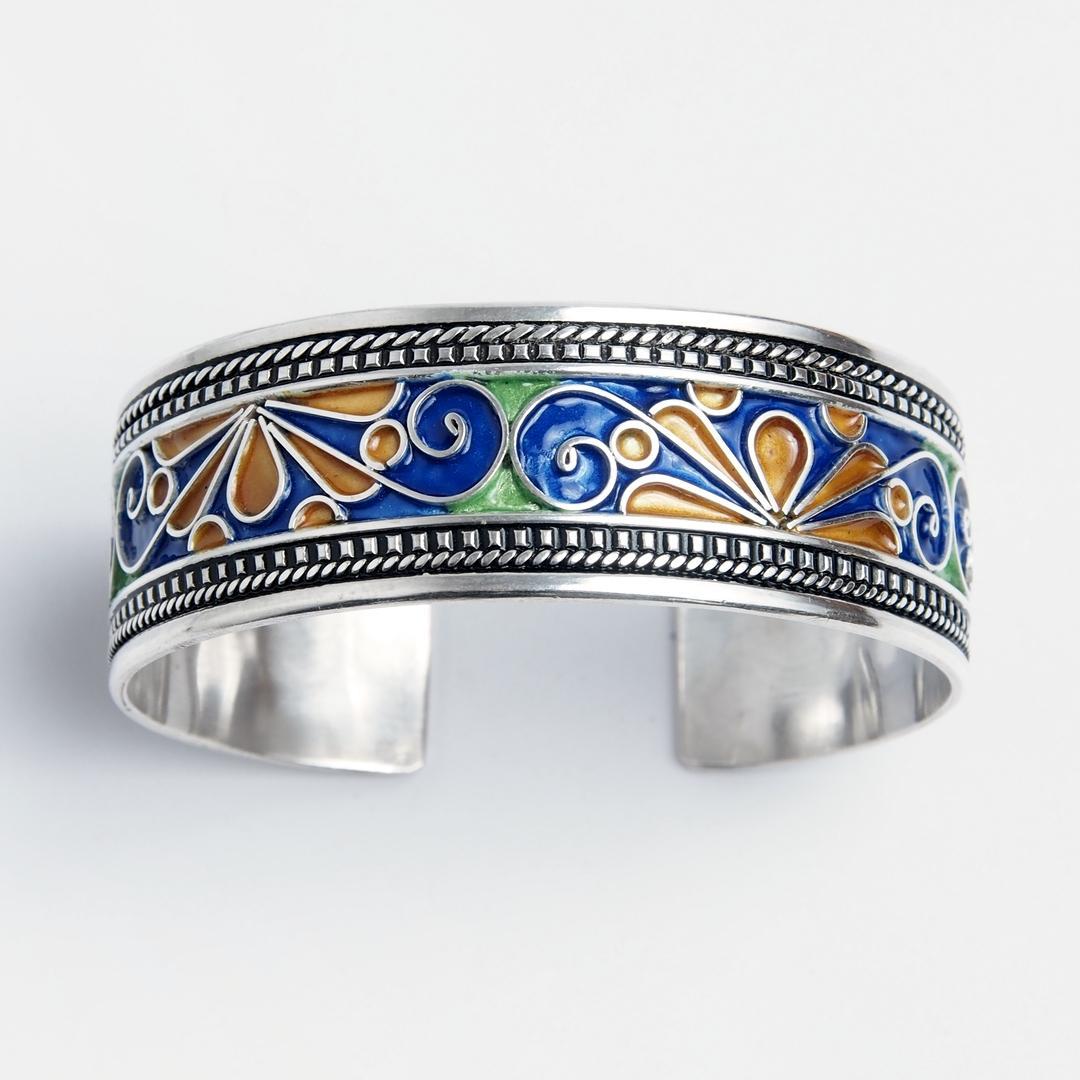 Brățară unicat Rissani, argint și email, Maroc