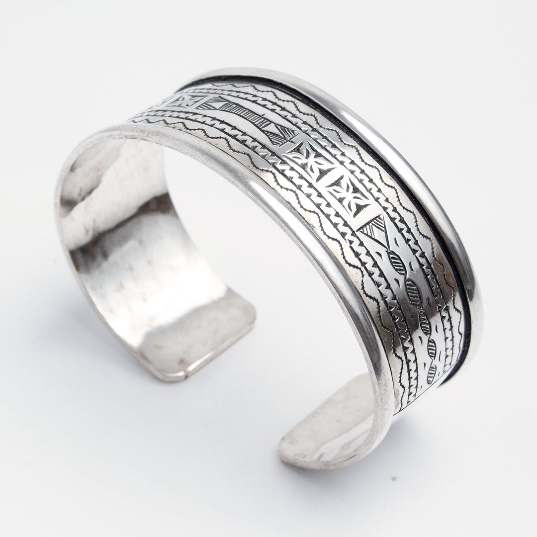 Brațară unicat Taqqa, argint gravat, Niger