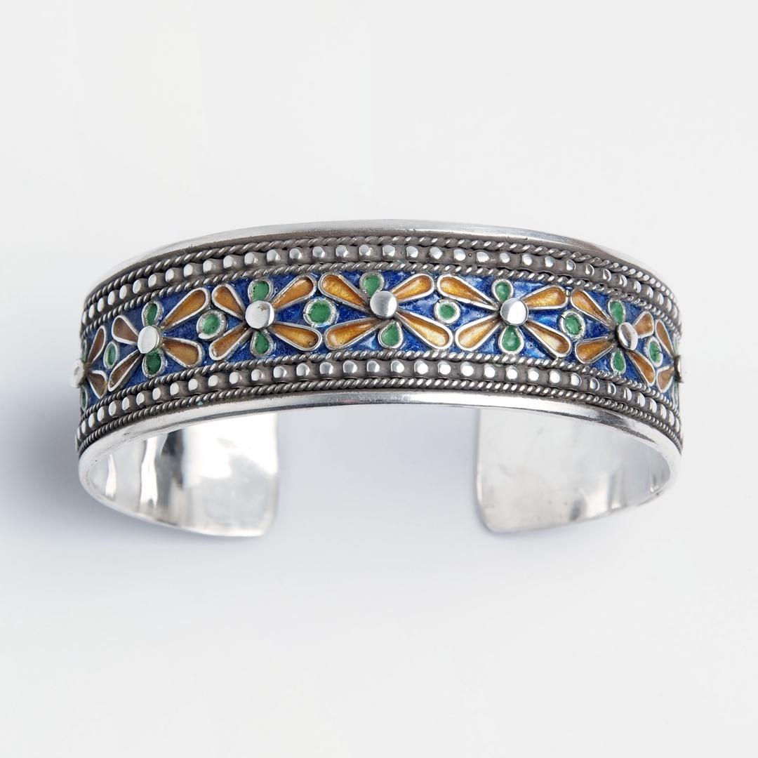 Brățară unicat Tetouane, argint și email, Maroc