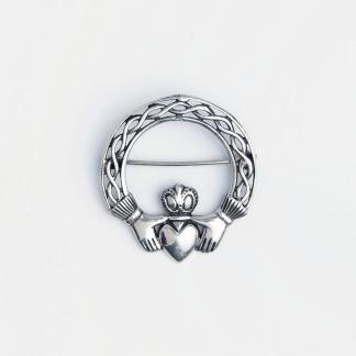 Broșă argint simbol celtic rotund Claddagh