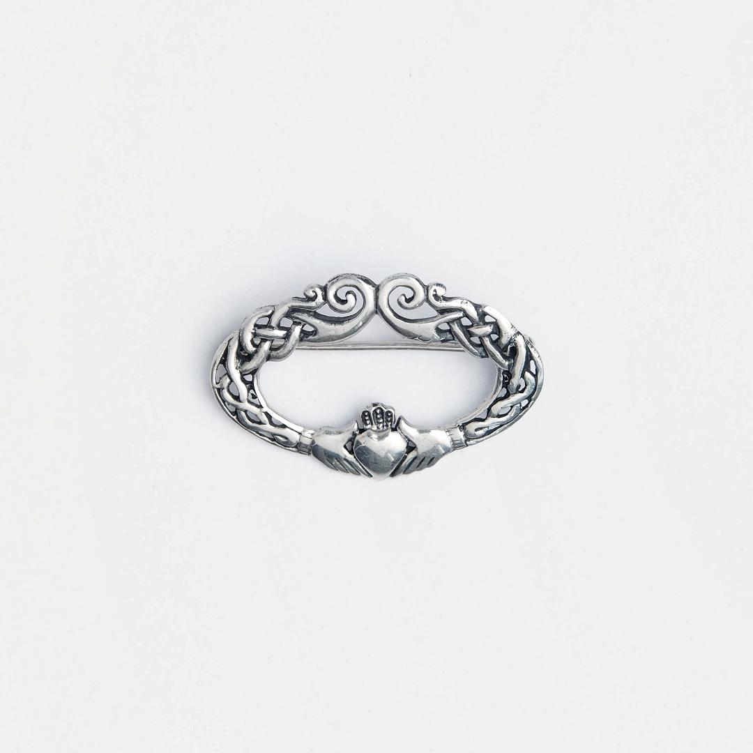 Broșă argint simbol nod celtic Claddagh