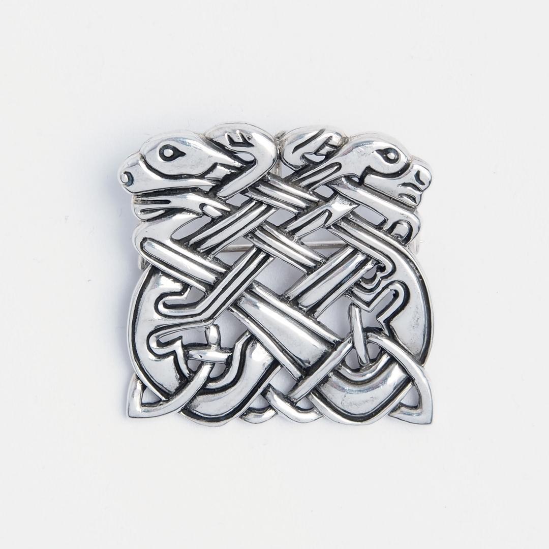 Broșă celtică dragoni, argint