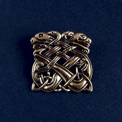 Broșă celtică dragoni, bronz