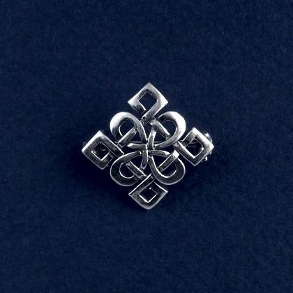 Broșă celtică pătrată mică, argint