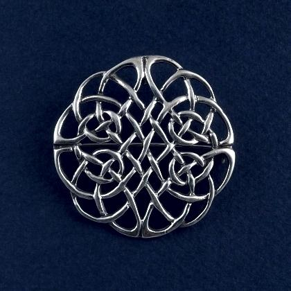 Broșă celtică rotundă mare, argint