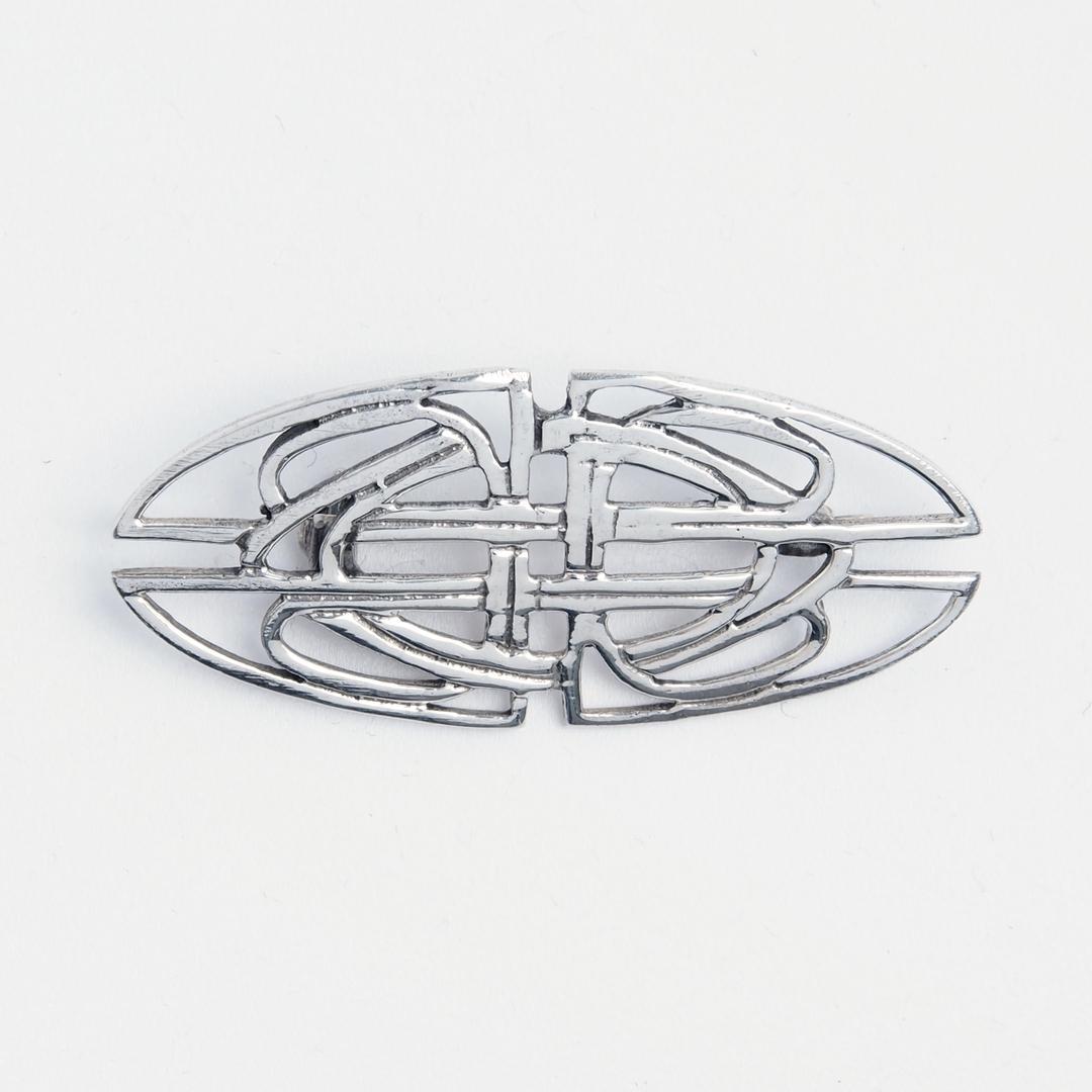 Broșă nod celtic alungit, argint
