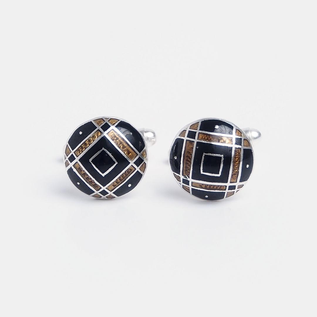 Butoni de cămașă din argint și email negru și auriu Rampur, India