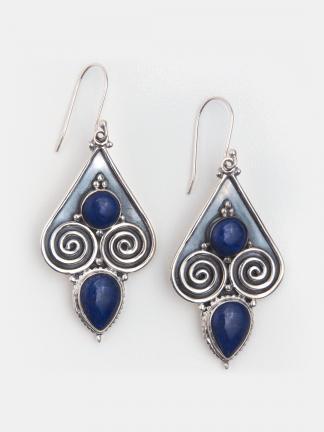 Cercei statement argint și lapis lazuli Tillya, Afganistan