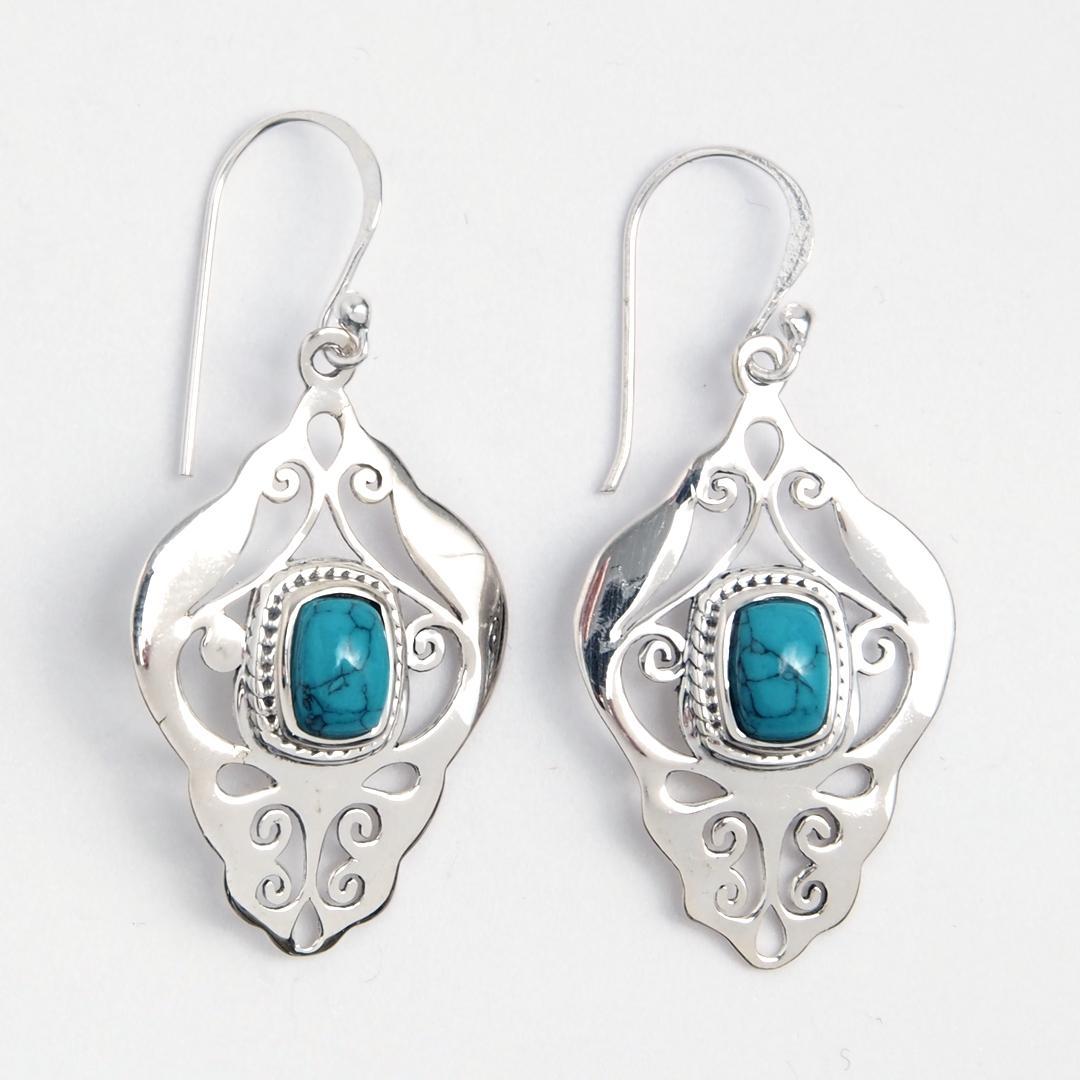 Cercei Additri, argint și turcoaz, India