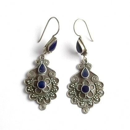 Cercei afgani argint și lapis lazuli
