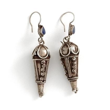 Cercei afgani, argint și lapis lazuli