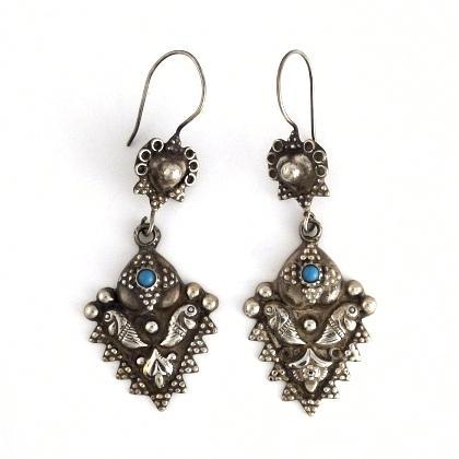 Cercei afgani argint și turcoaz