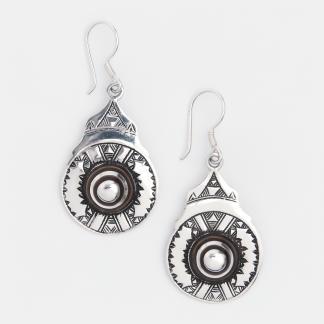 Cercei amuletă din argint și abanos Menaka, Niger