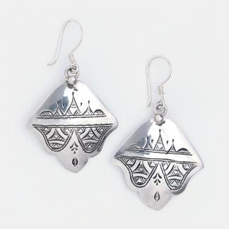 Cercei amuletă hamsa din argint Dirkou, Niger