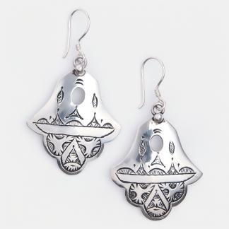 Cercei amuletă hamsa din argint Kamango, Niger