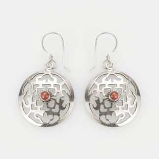 Cercei amuletă mandala, argint și coral, Nepal