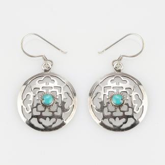Cercei amuletă mandala, argint și turcoaz, Nepal