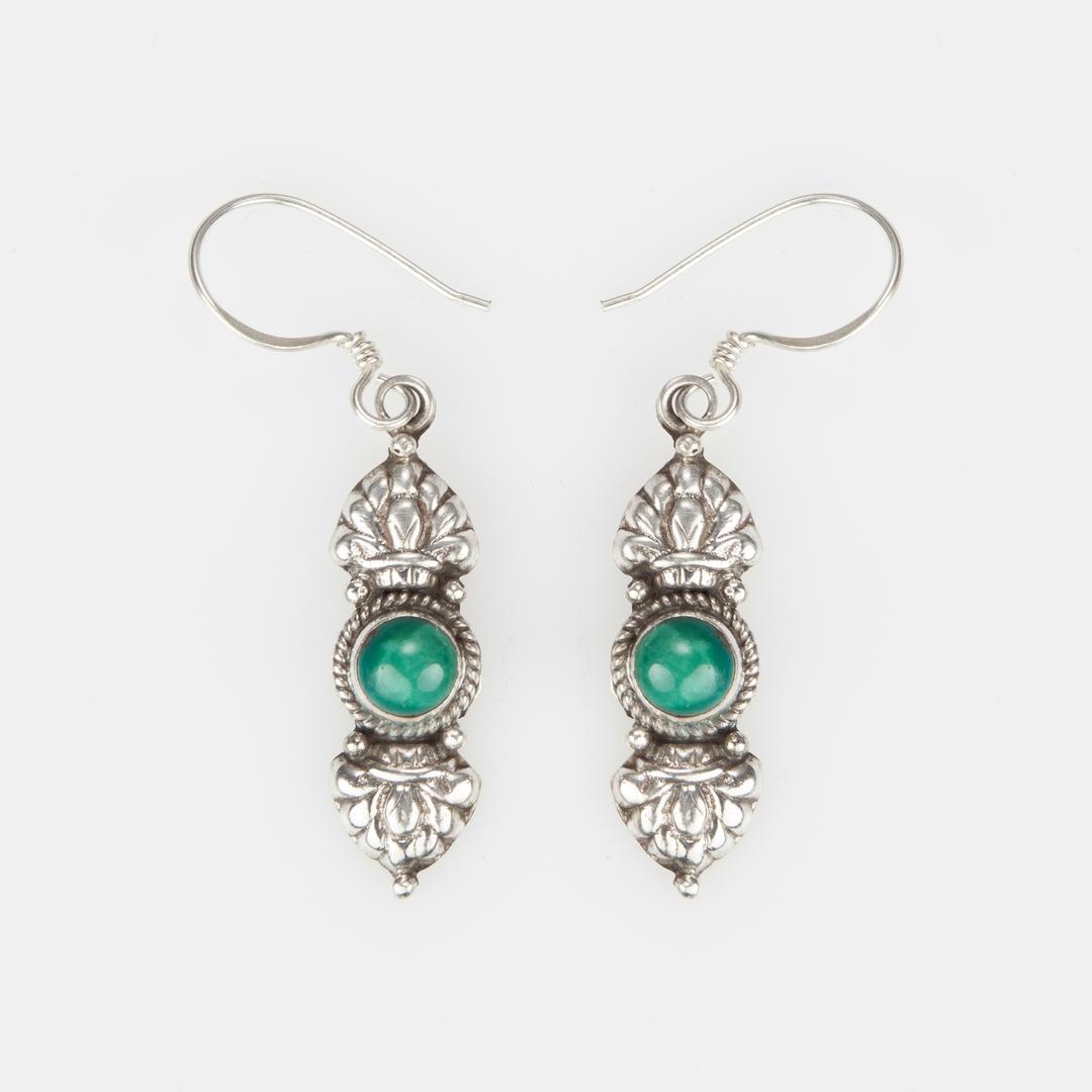 Cercei amuletă vajra, argint și turcoaz, Nepal