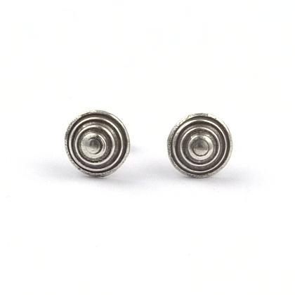 Cercei argint, cercuri concentrice, șurub, Thailanda