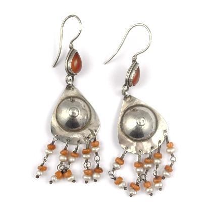 Cercei argint, cornalină, coral și perle, Afganistan
