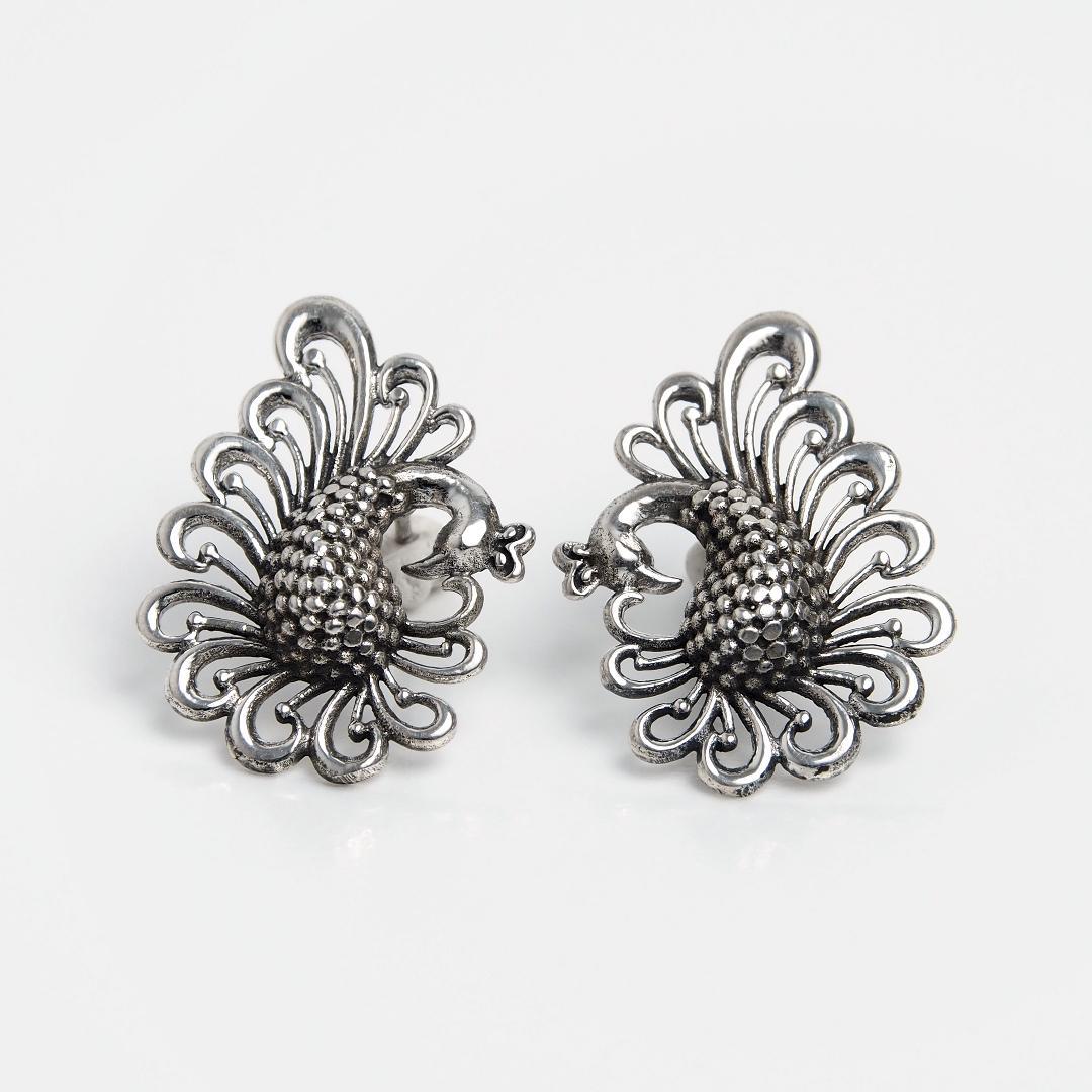 Cercei din argint cuplu de păuni, India