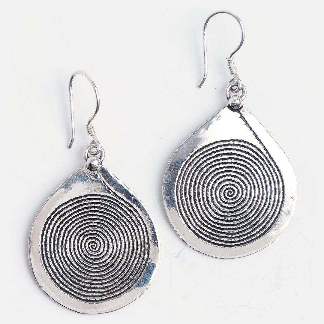 Cercei tuaregi plați spirală, argint