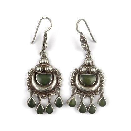 Cercei argint și jad, semilună, patru lacrimi, Afganistan