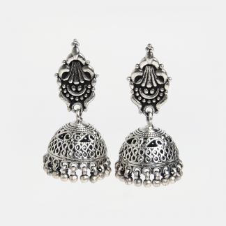 Cercei din argint jhumka Chattra, India