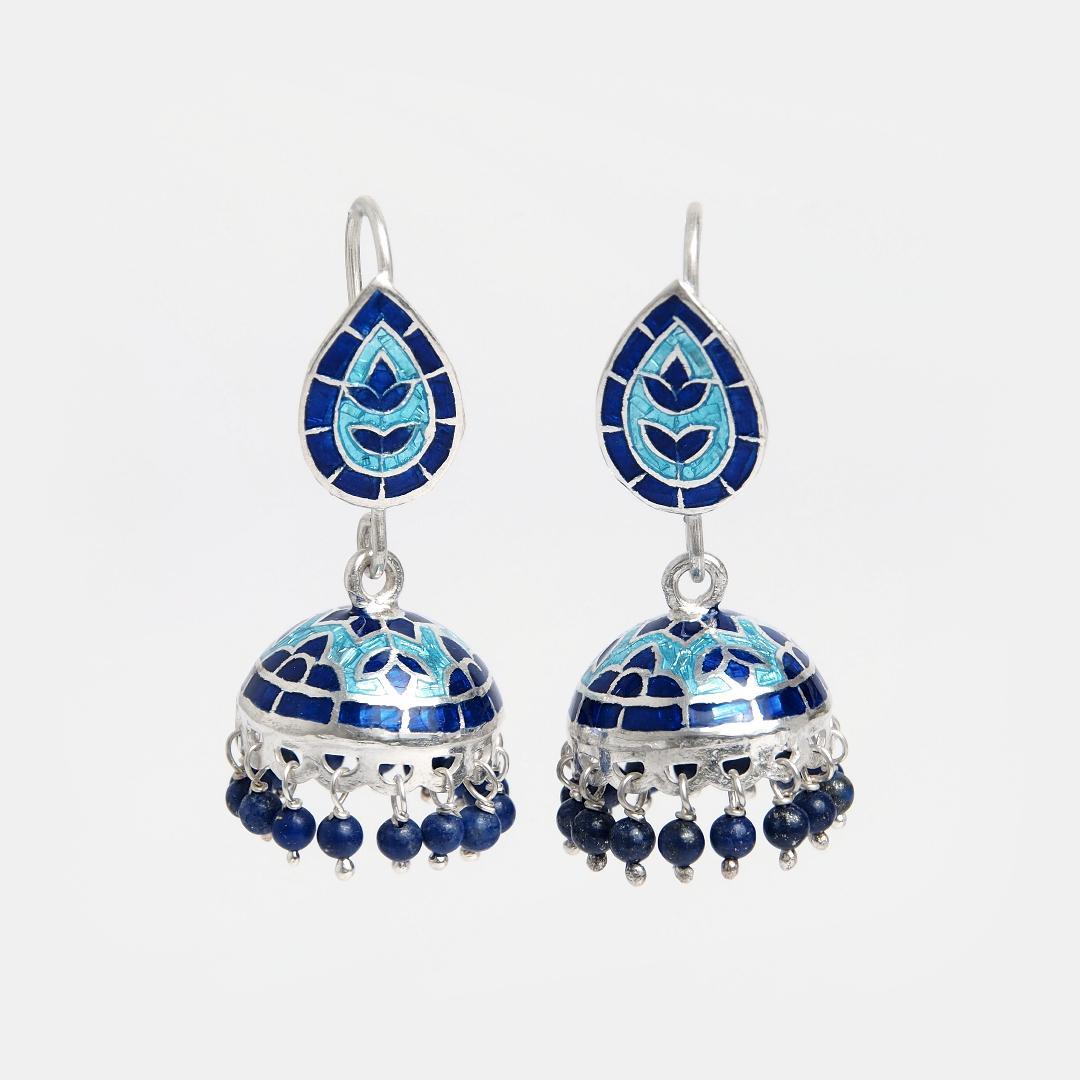 Cercei din argint jhumka Dhyaan cu email albastru și bleu, India