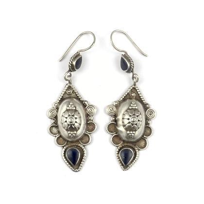 Cercei argint și lapis lazuli, bombați, motive vegetale, Afganistan