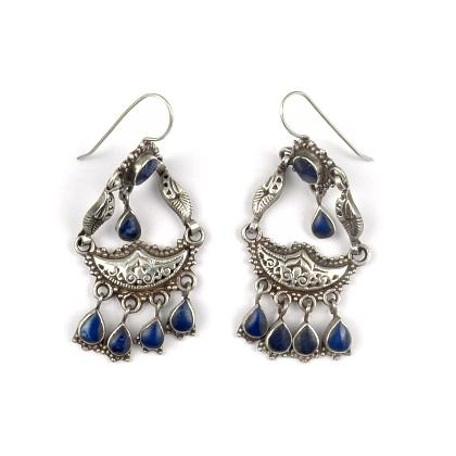 Cercei argint și lapis lazuli, candelabru, Afganistan