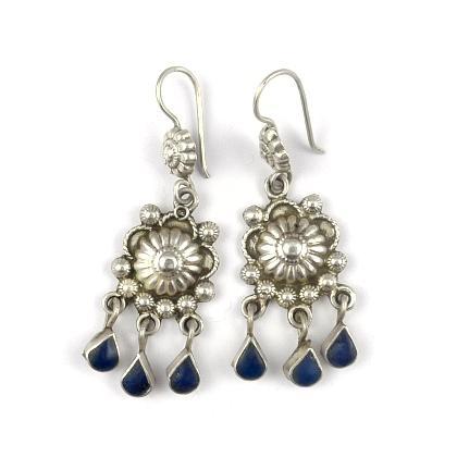 Cercei argint și lapis lazuli, floare cu trei lacrimi, Afganistan