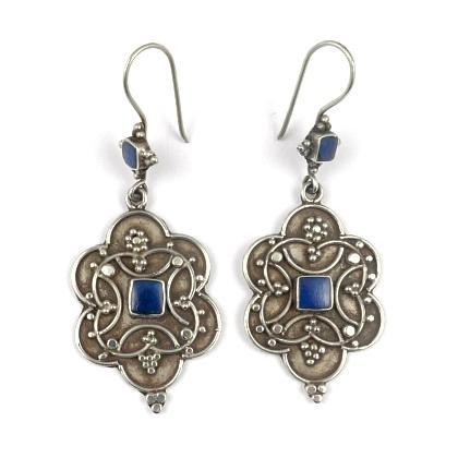 Cercei argint și lapis lazuli, floare mare șase petale, Afganistan