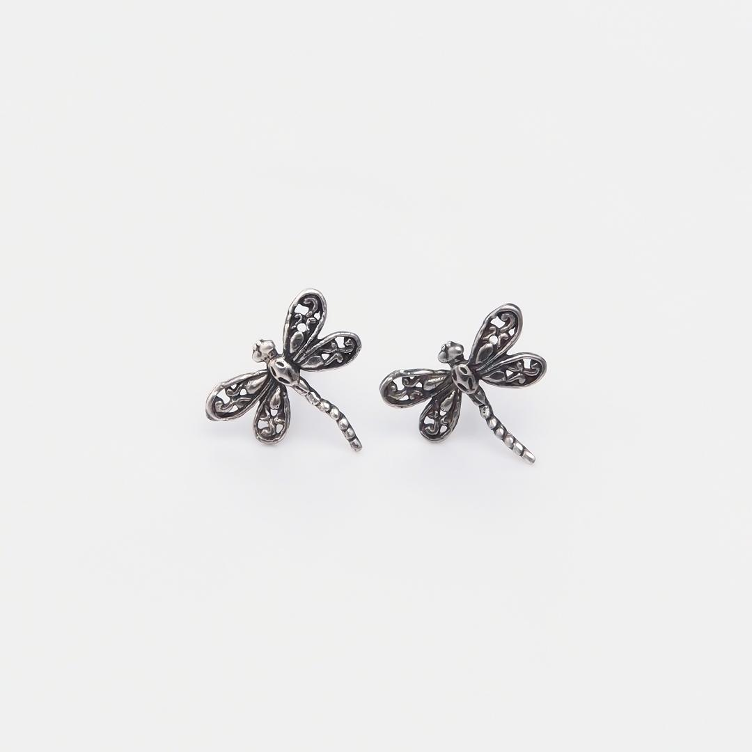 Cercei argint libelulă filigran cu șurubel, India