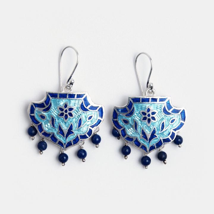 Cercei din argint Padma cu email albastru și bleu, India