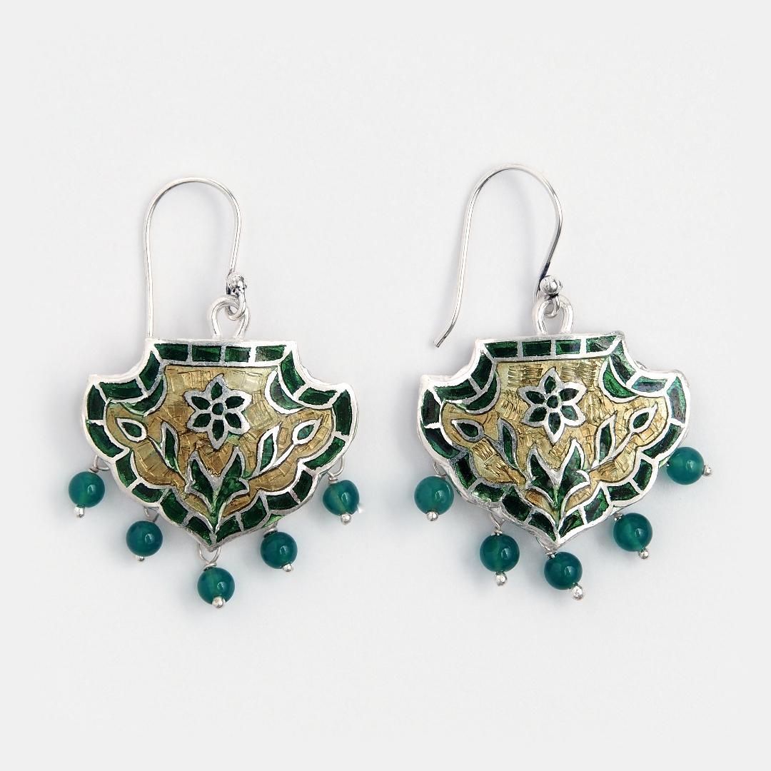 Cercei din argint Padma cu email verde și auriu, India