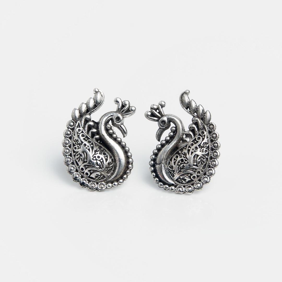 Cercei din argint păuni îndrăgostiți, India