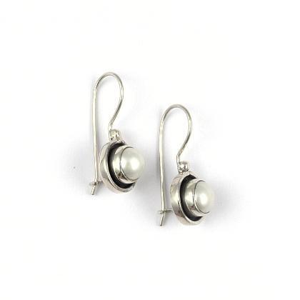 Cercei argint și perlă, concentrici, tortiță cu închizătoare, Indonezia