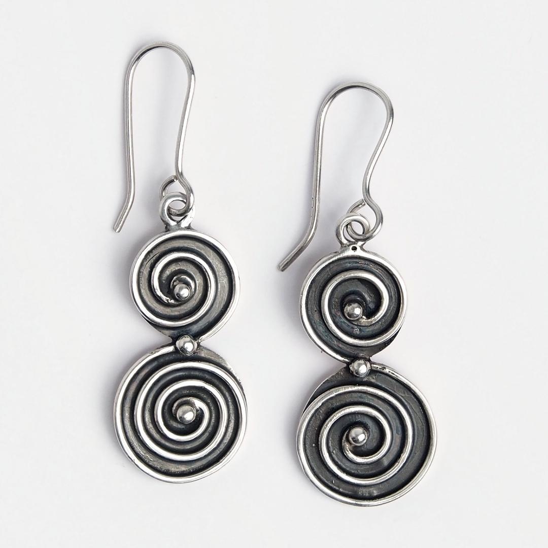 Cercei argint spirală dublă Swadee, Thailanda