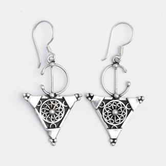 Cercei medii simbolul feminității Tiznit, argint și filigran, Maroc