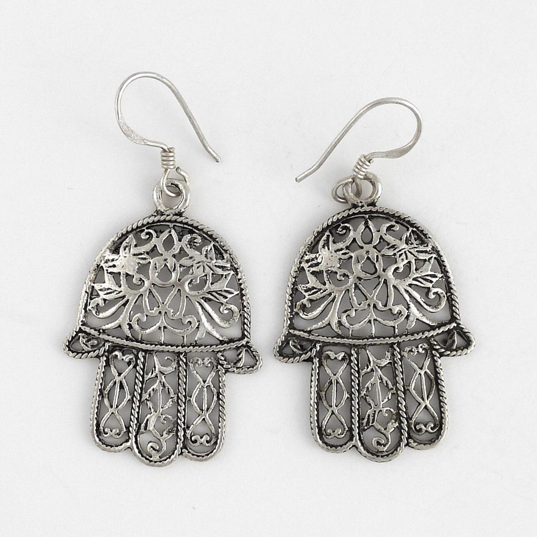 Cercei berberi hamsa argint filigran