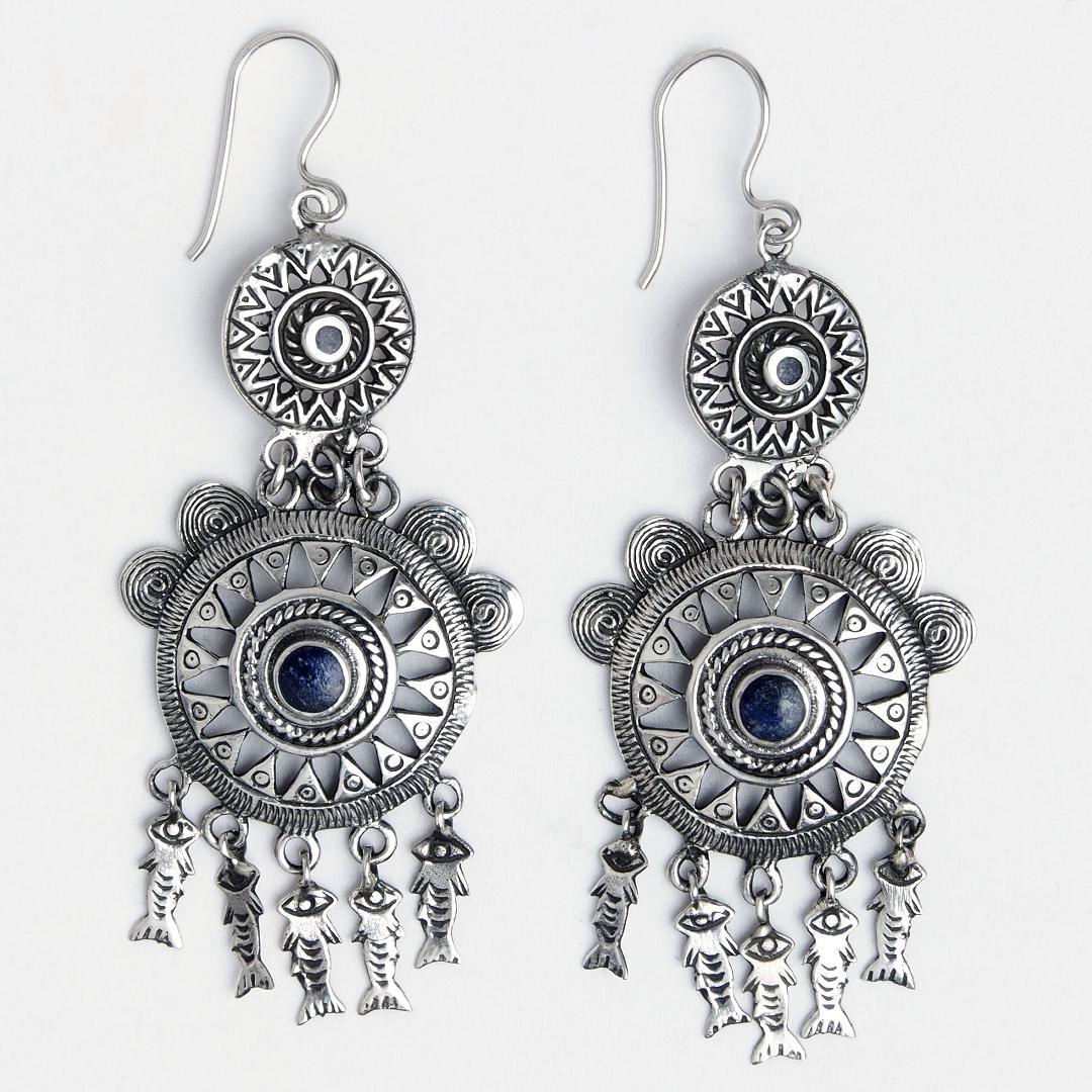 Cercei candelabru argint și lapis lazuli Madhya, India