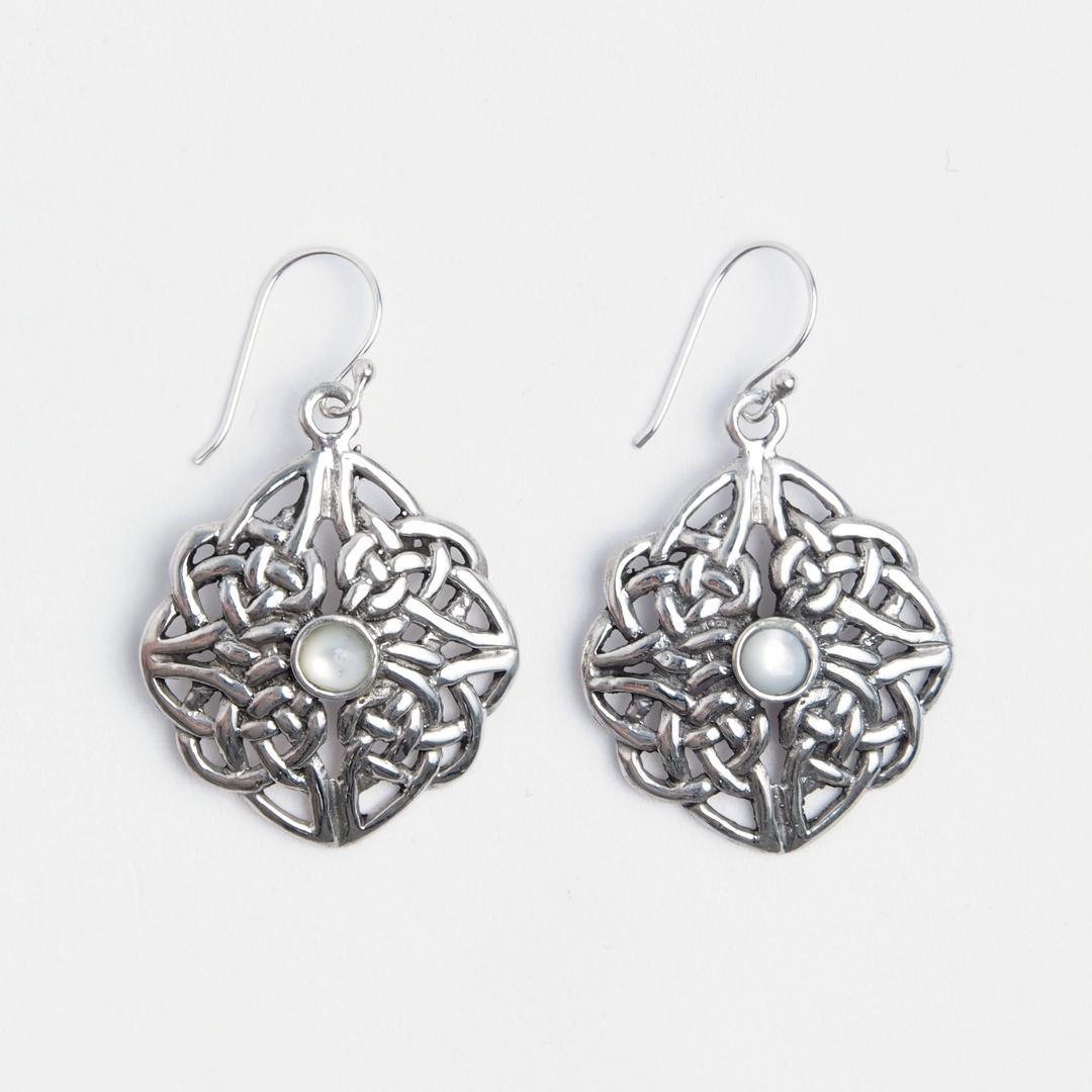 Cercei celtici rotunzi, argint și sidef