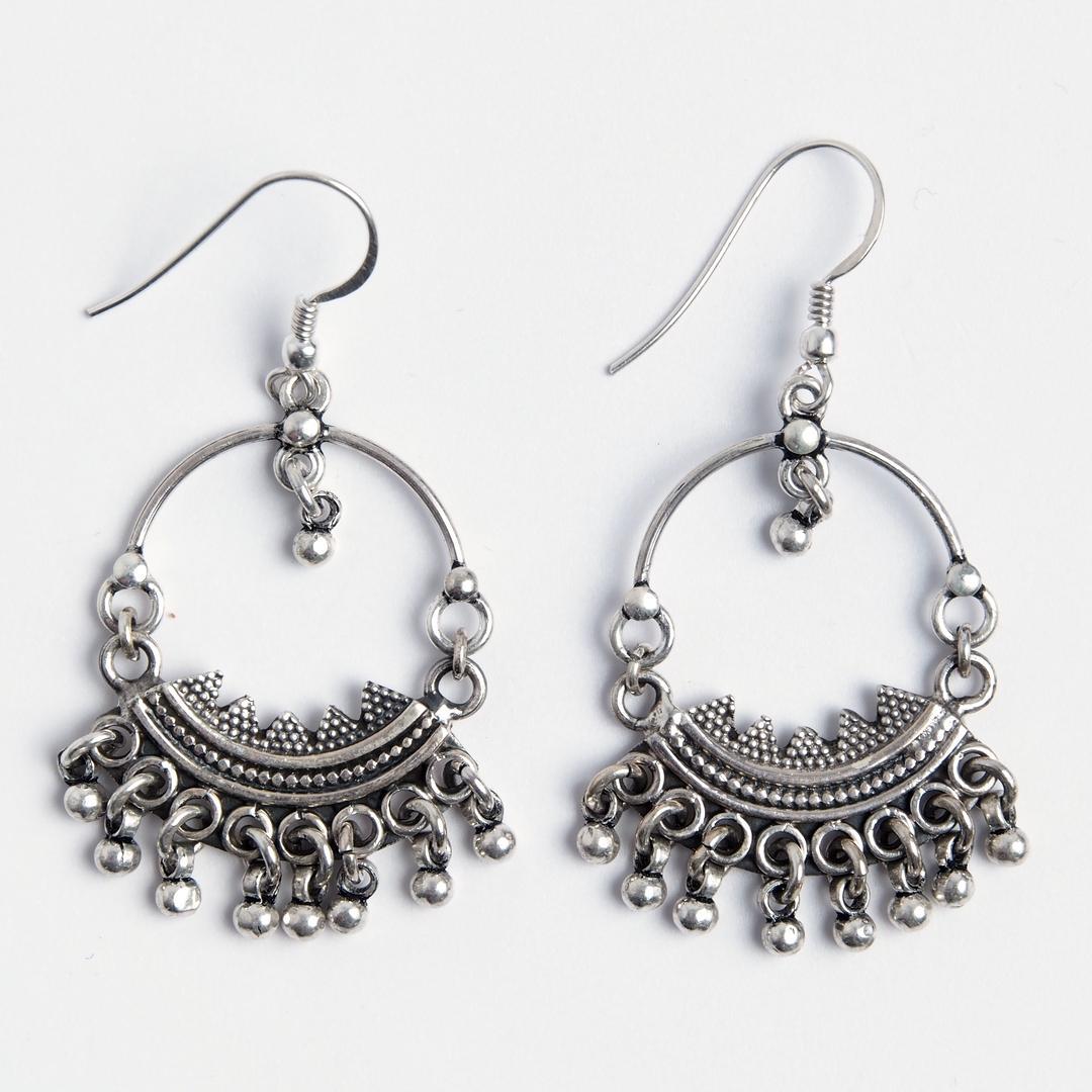 Cercei ciucurași Jammu, argint, India