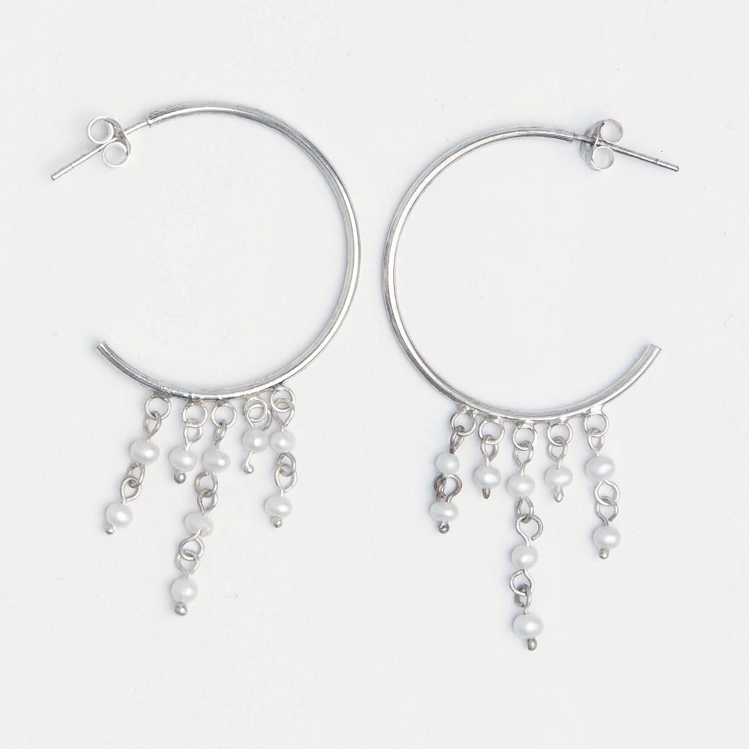 Cercei creole argint și perle de cultură Aryan, India