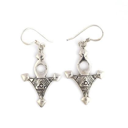 Cercei cruce tuaregă Bagazen, argint