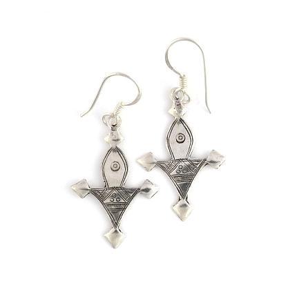 Cercei cruce tuaregă Bagazen mică, argint