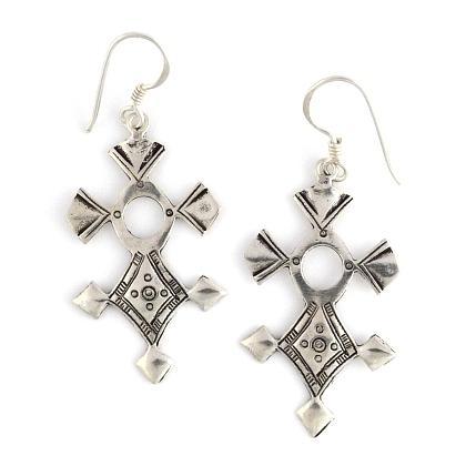 Cercei cruce tuaregă In-Abagret, argint