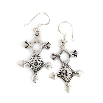 Cercei cruce tuaregă In-Abagret medie, argint
